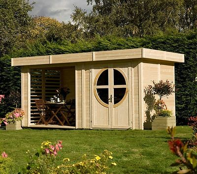 Rowlinson Wooden Tongue and Groove Summerhouse Connor Unpainted Cabin - 16 x 8ft