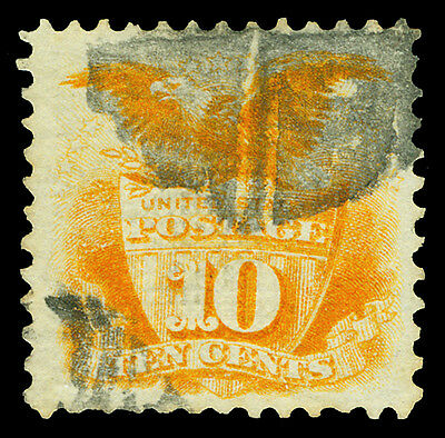 Scott 116 1869 10¢ Eagle & Shield Pictorial Issue Used F-VF Cork Cancel Cat $120