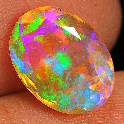 3.5CT 100% Natural Ethiopian Welo Opal Faceted Cut Play Of Color QOL7318