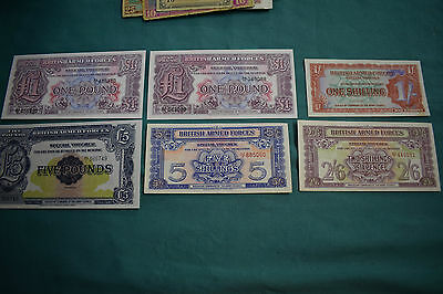 SIX British Armed Forces SECOND Series Banknotes: £5, 2x£1, a 5/-, a 1/-, a 2/6d