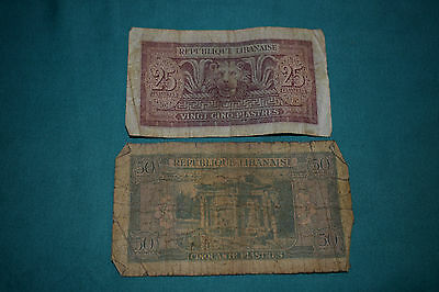 Two Banknotes of Republique Libanaise - 25 and 50 Piastres ROUGH!!