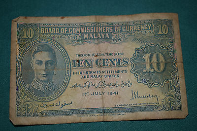 Board of Commissioners of Currency - MALAYA - Ten Cents - dated 1941