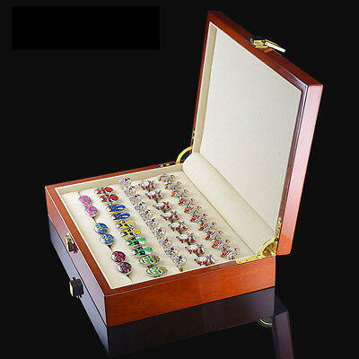New Brown Vintage Large Wooden Ring Earring Jewelry Display Box Case Storage