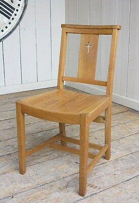 Vintage Oak Church Chairs - Solid Retro Kitchen Dining Chapel Church Chair