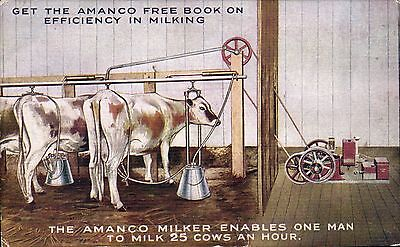 Advertising. Amanco Cow Milker. 25 Cows an Hour.