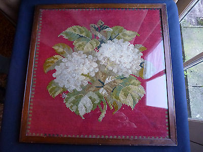 Victorian Hand embroidered floral tapestry