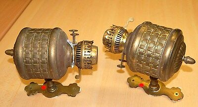 Vintage Pair Brass oil wall Lanterns for conversion to electric  T44/F3