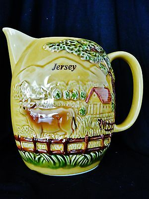 Vintage Jersey Pottery  1 Pint Jug  5.1/2 Inches Tall - Raised Pattern
