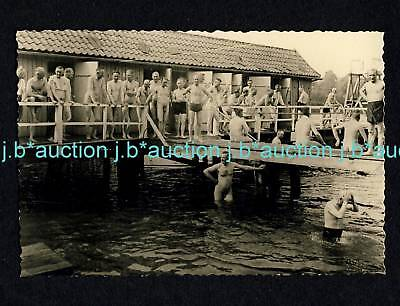 Nudism NUDE MEN'S OPEN AIR POOL Skinny Dipping * 50s Gay Int Photo FKK Männer