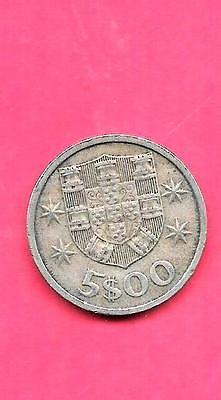 Portugal Km591 1967 Vf-Very Fine-Nice Large Old 5 Escudos Coin