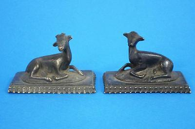 BEAUTIFUL PAIR OF ANTIQUE BRONZE DEER 1850 mantle ornaments brass hunting fox