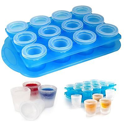 Ice Shot Plastic Frozen Party Drink Glass Mould Tray Cube Maker Freezer Set