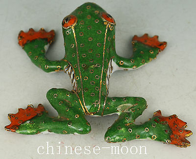 Lovely Green Chinese Old Cloisonne Handmade Carved Frog Statue gift