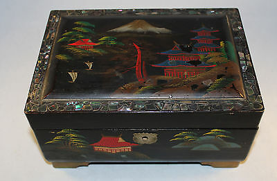 Vintage Japanese Hand Painted Lacquered Jewellery Box  Abalone Shell Surround