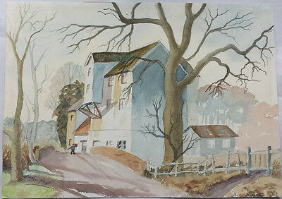 Landscape With Trees And Mill - Original Watercolour Painting By Peter Hill
