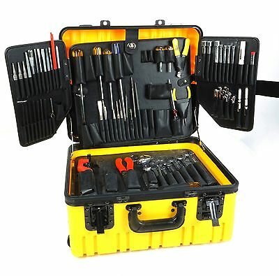"Parker Yellow Wheeled Tool Case Silver Eagle Side Pull 10"" Depth w over 50 Tools"