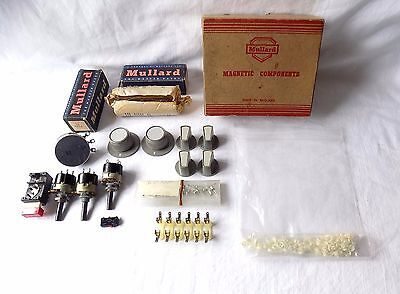 Box Of Vintage Mullard Radio Telivision Valves,switches,other Components.