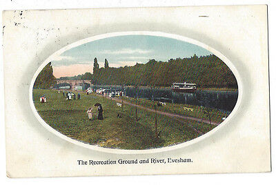 EVESHAM Recreation Ground and River, Postcard by CW Bayliss, Postally Used 1909