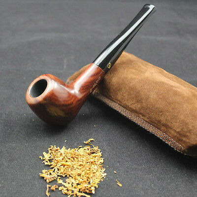Straight Nature Rosewood Wood Tobacco Smoking Pipe & Pouch Stand 10X 9mm filters