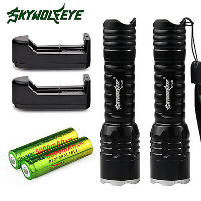 2PC 6000LM CREE XM-L T6 LED USB Rechargeable Military Flashlight 18650 Battery
