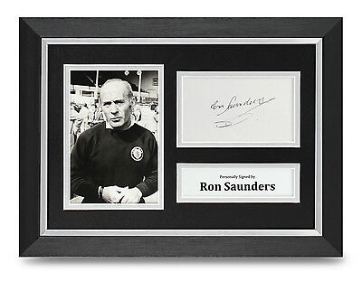 Ron Saunders Signed A4 Photo Framed Aston Villa Memorabilia Autograph Display