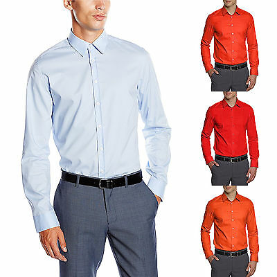 Seidensticker Herren Langarm Hemd UNO Super Slim Stretch blau rot & orange