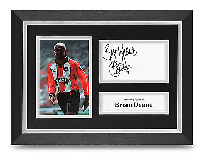 Brian Deane Signed A4 Photo Framed Sheffield Utd Memorabilia Autograph Display