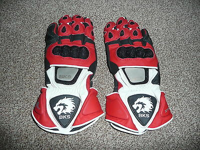 Mens Bks S Small Red Black Stingray Kangaroo Leather Motorcycle Gloves Kevlar