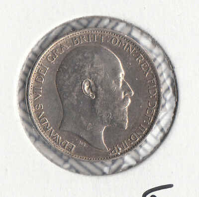 """1910 Edward Vii Silver Sixpence """"unc"""" S3983 Esc 1794 .925 Sterling Silver"""