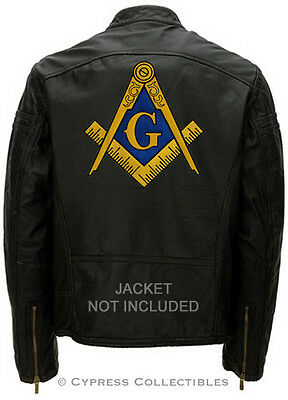 LARGE MASONIC BIKER PATCH EMBROIDERED IRON-ON Mason Freemason SQUARE COMPASS