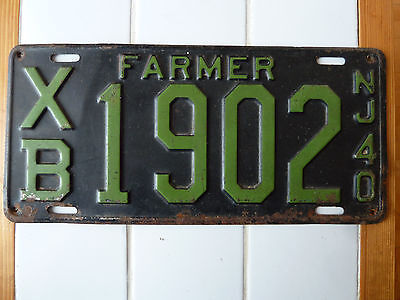 1940 New Jersey FARMER License Plate #XB-1902.....425g