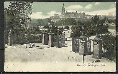 Postcard : Glasgow Gateway to Kelvingrove Park and University posted 1905