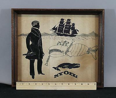 19thC Antique India Ink Folk Art Drawing Whaling Ship Captain Right Whale Nyoil