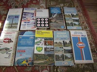 Lot Of 10 Vintage  Gas Station  Maps B
