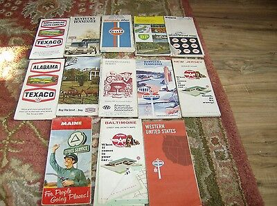 Lot Of 12 Vintage  Gas Station  Maps C
