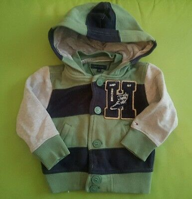 TOMMY HILFIGER baby boys hooded striped top green sweatshirt 12-18 Months