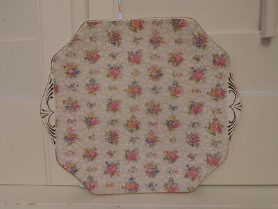 Vintage Hammersley Chintz Handled Cake Plate Pink Roses Bone China