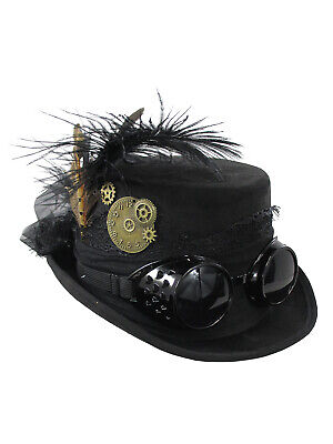 Ladies Womens Black Victorian Deluxe Top Hat With Steampunk Goggles Costume