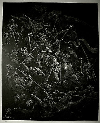 """3 large wood engravings from """"Paradise Lost"""" by Gustave Dore, 1866"""