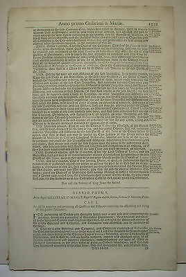 Complete, the Parliamentary Acts of William & Mary, from Statutes at Large, 1706