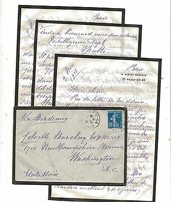 WW1 1918 Mourning Cover and Letters Paris to British Embassy Washington