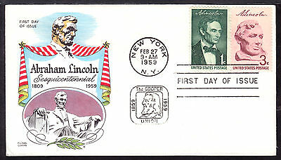 1959 NEW YORK, NY., #1114 3c on ABRAHAM LINCOLN SESQUI FIRST DAY CACHET