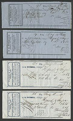 Chester NY: Lot of Four 1860 C.S. TUTHILL'S FREIGHT LINE Erie Railroad Receipts