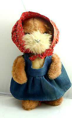 "Vtg 1981 Dakin Plush Toy Puppy Dog & Denim Dress 10 "" Tall"