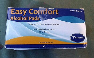 Home Aide Easy Comfort Alcohol Pads Saturated in 70% Ispropryl 100 Count