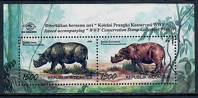 Indonesia 1996 WWF/Rhinoceros Miniature Sheet of Two Stamps MNH