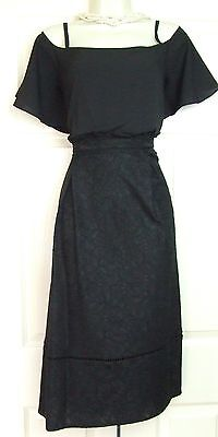 Warehouse Lace Woven Mix Black Party Evening Dress Size 14 Bnwt Rrp £79