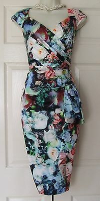 Debut Debenhams Floral Print Fitted Occasion Party Evening Dress Size 12 Bnwt