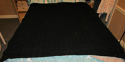 Black fluffy bed throw / blanket for a single / small double size bed