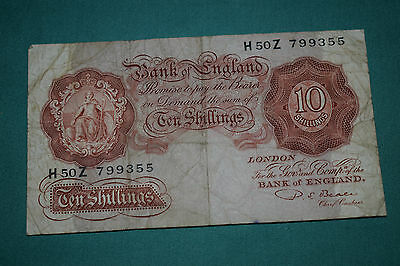 A Rough P Beale Ten Shilling Banknote with nice serial H50Z 799355 rough though!